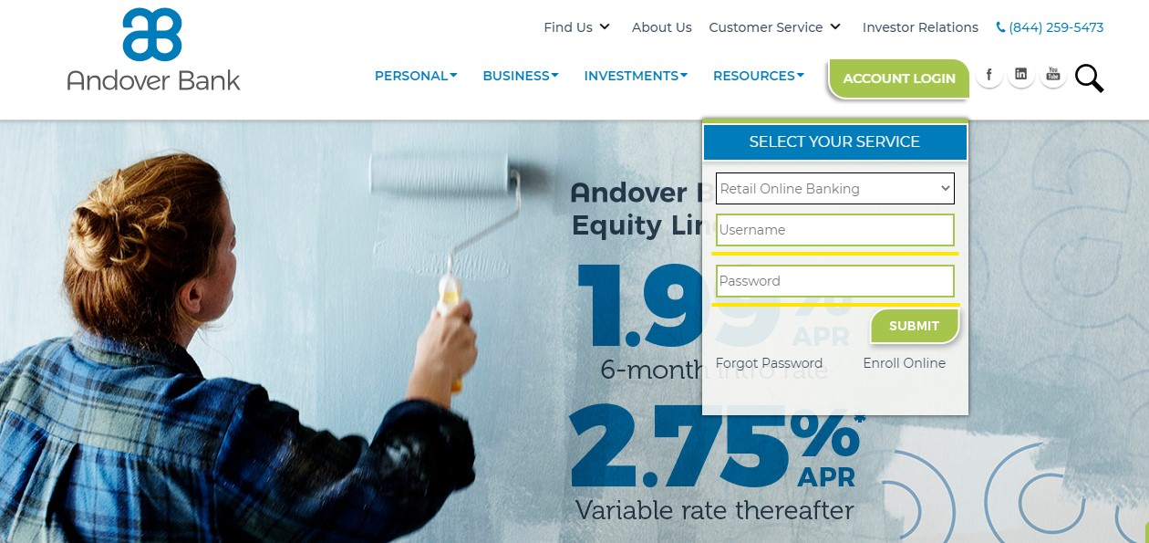 Andover Bank username and password